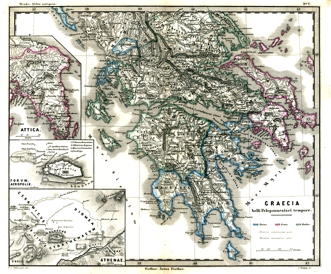 Antique Map from 1862 of Ancient Greece during the Peloponnesian War