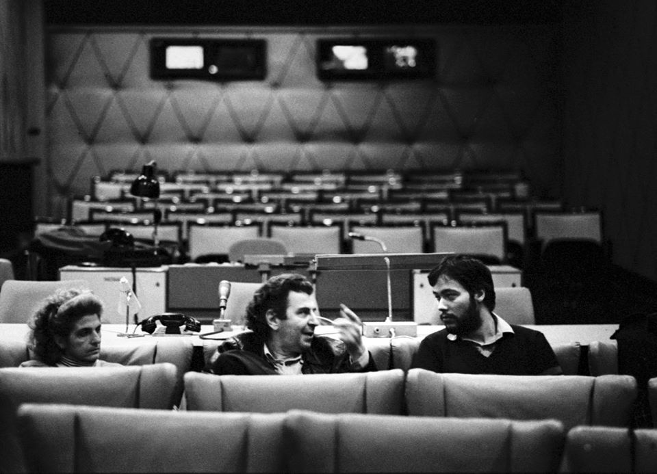 Myrto Mikis Theodorakis Asteris Koutoulas in East Berlin 1982 Studio screening of the Film Canto General at the DEFA Dokumentarfilmstudio Photo by Rainer Schulz