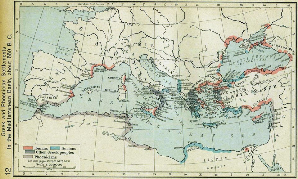 carte greek and phoenician settlements mediterranean