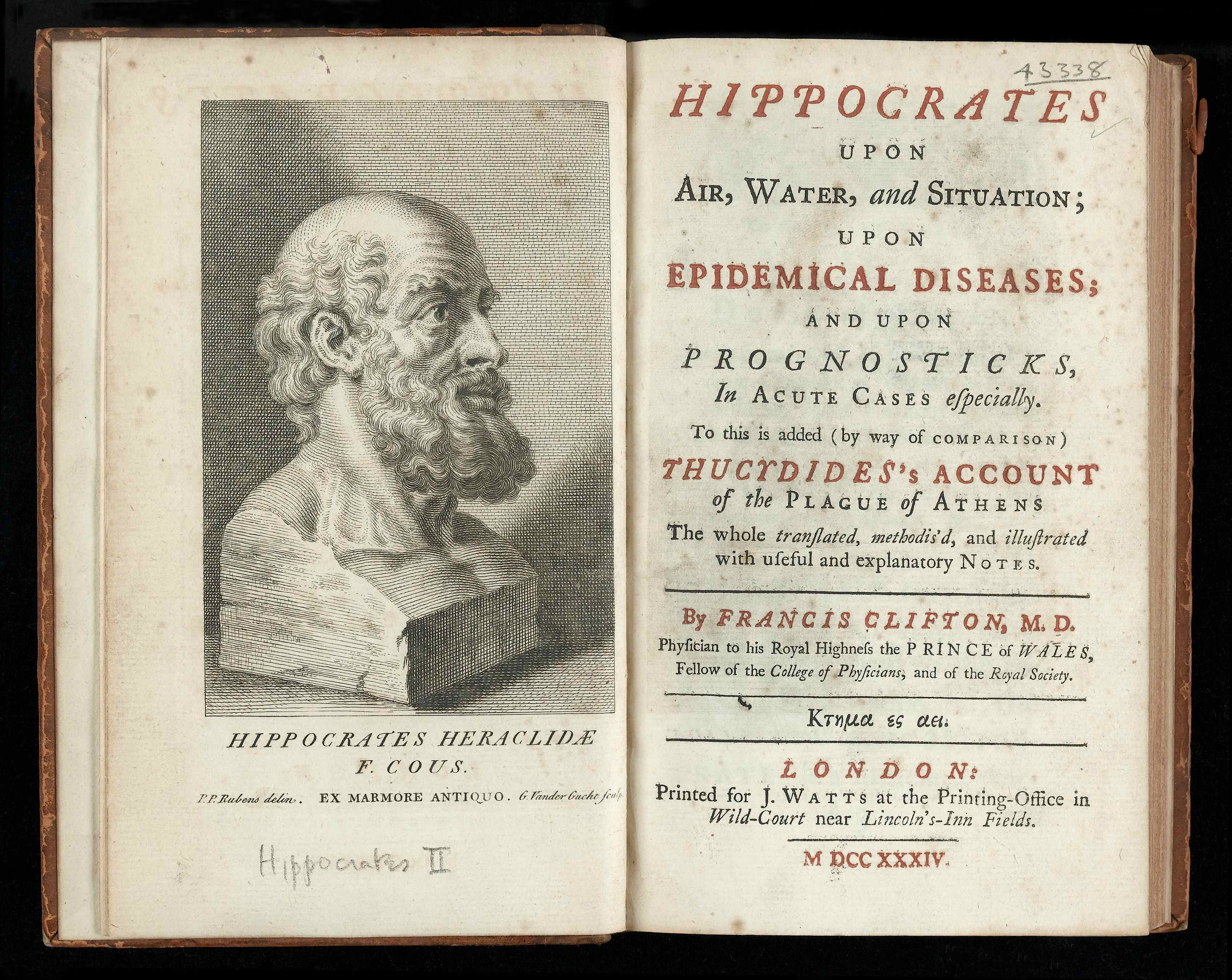 Hippocrates bust and title page Wellcome L0041093